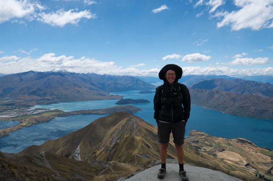 Annette auf Roys Peak bei Wanaka, Neuseeland Südinsel