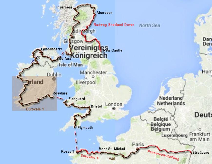 Radtourenabschnitt durch Irland von Rosslare nach Doolin bei den Clifts of Moher