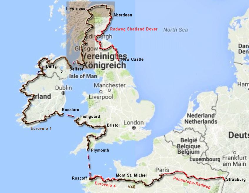 Radtourenabschnitt durch Schottland von Stranraer im Südwesten nach Aberdeen im Nordosten
