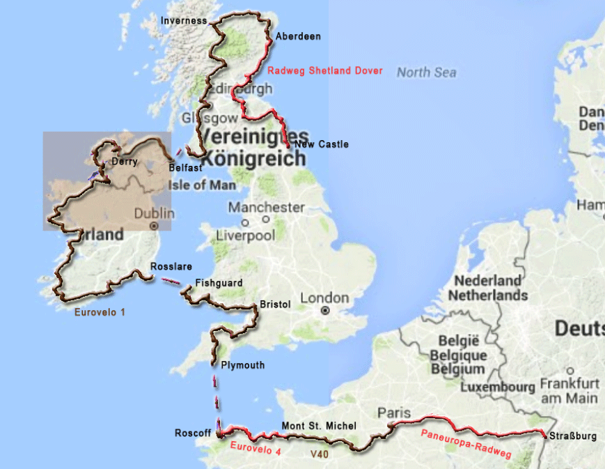Radtourenabschnitt von den Cliffs of Moher nach Larne