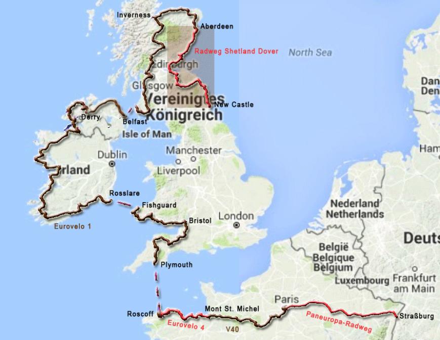 Abschnitt der Radtour von Aberdeen nach Newcstle