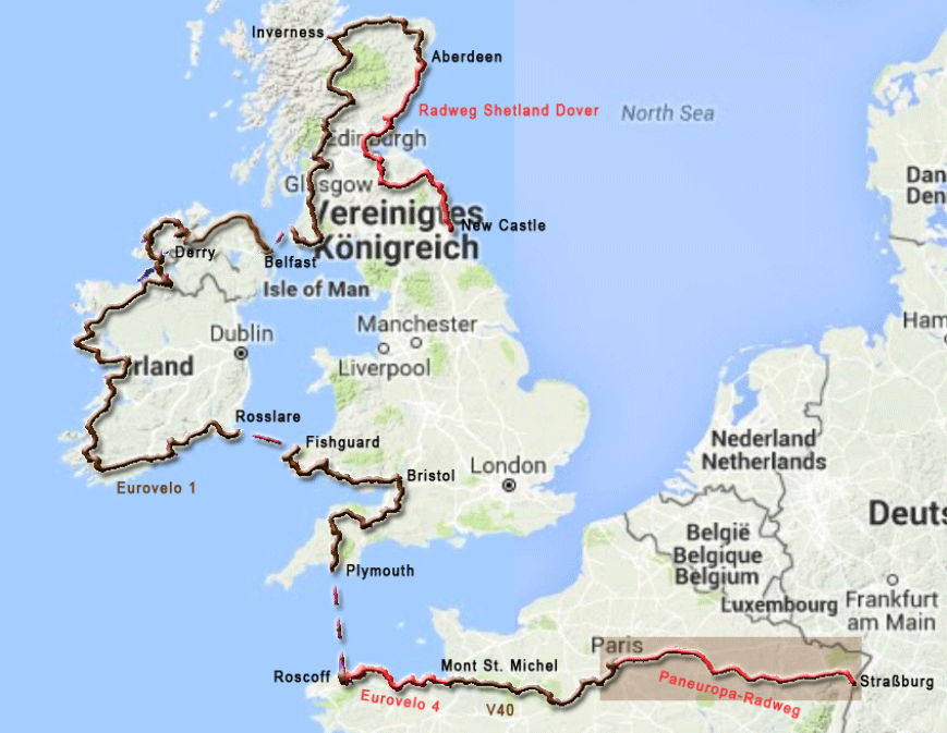 Karte zur Radtour von Straßburg nach Paris