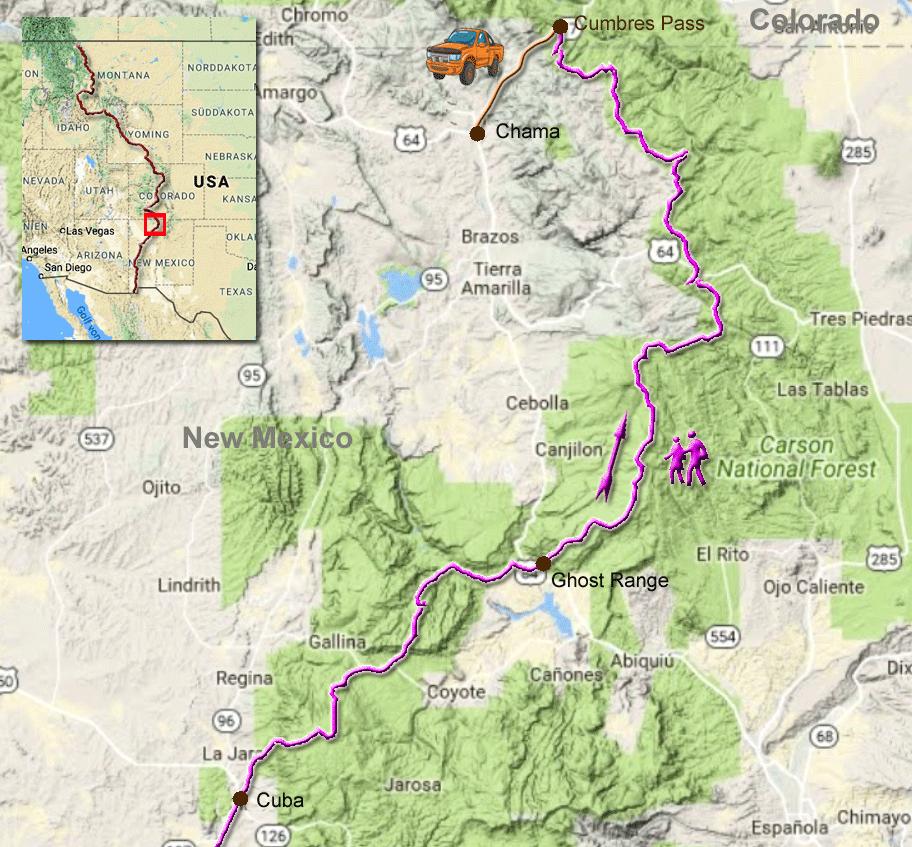 Karte durch New Mexico von Cuba zum Cumbres Pass und per Anhalter nach Chama
