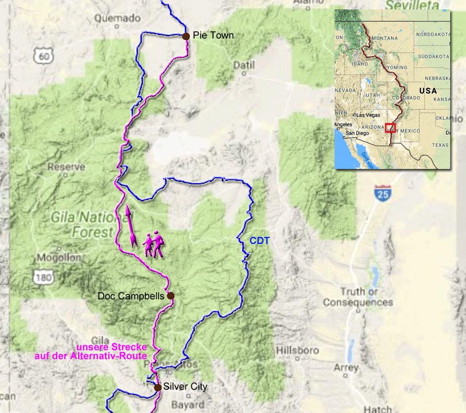 257 Kilometer über eine Alternativ-Route zur Hauptstrecke des CDT von Silver City nach Pie Town