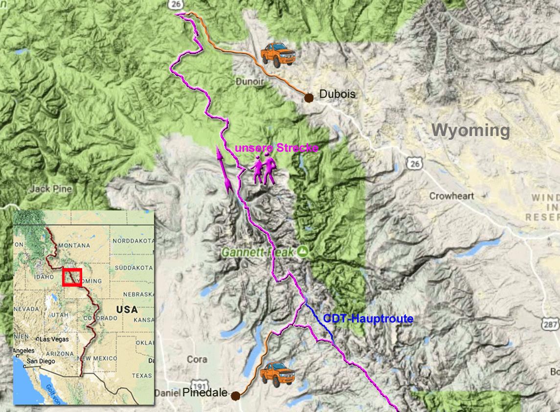 149 Kilometer auf dem CDT zwischen Pinedale und Dubois