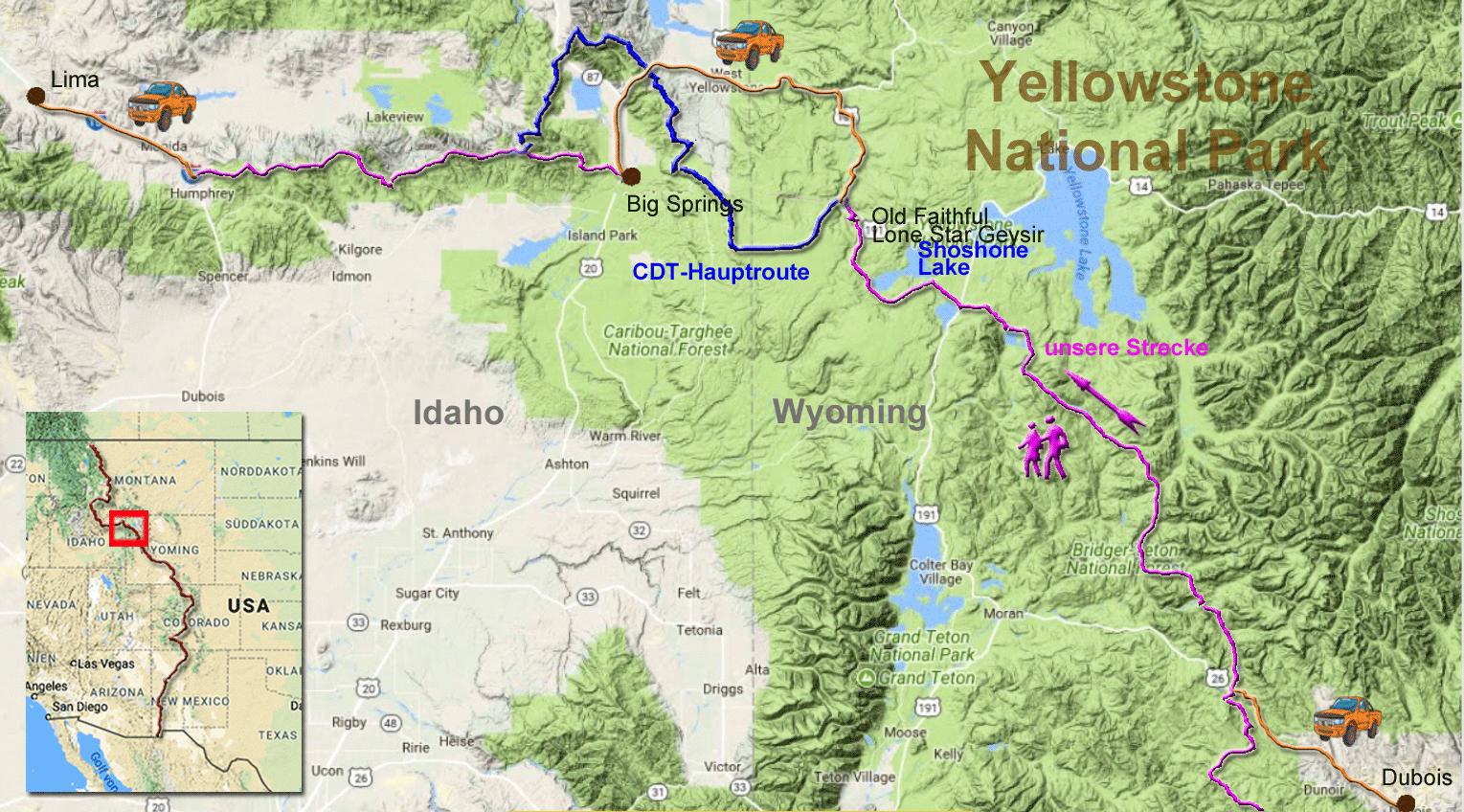 260 Kilometer auf dem CDT zwischen Dubois und Lima