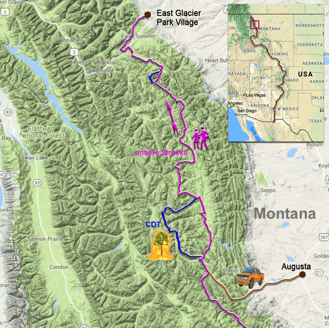 186 Kilometer auf dem CDT zwischen Augusta und Glacier