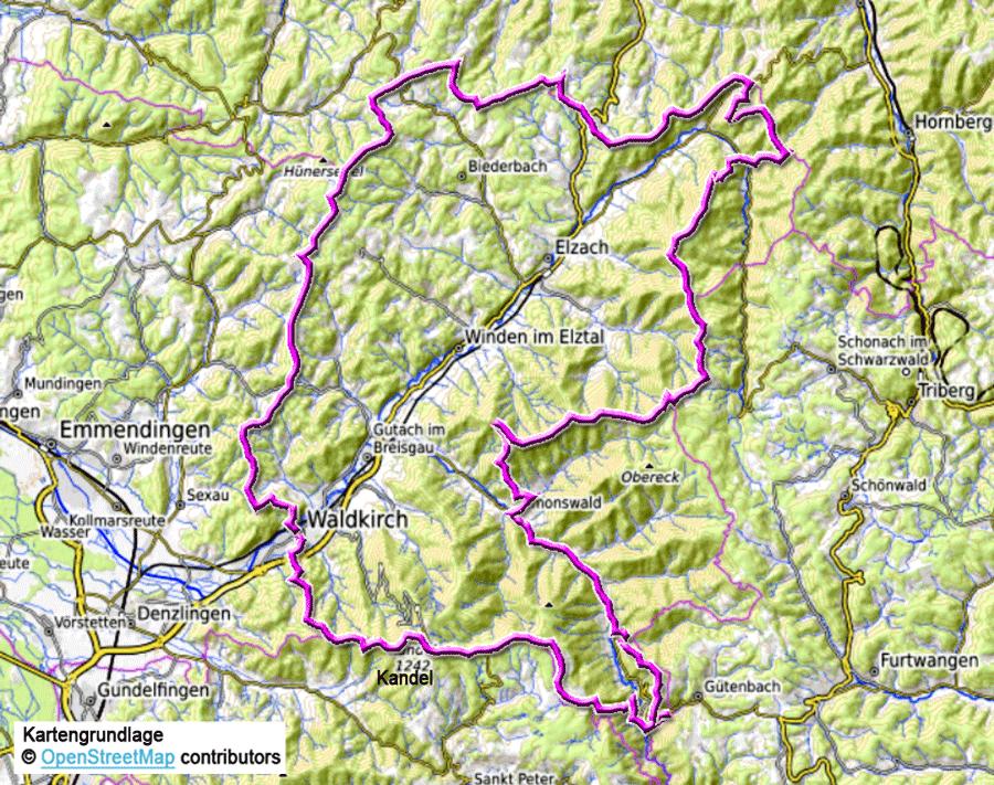 Karte Zwei Täler Weg